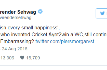 Virender Sehwag's Epic Response To Piers Morgan's Tweet On India's Olympic Celebration